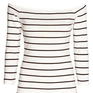 H&M White Boatneck Basic Tee. Navy stripes XL